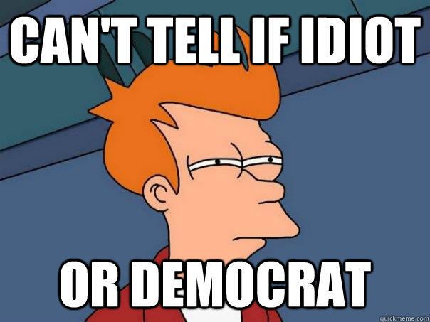 can't tell if idiot or democrat - can't tell if idiot or democrat  Futurama Fry