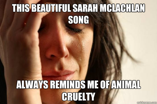 This beautiful sarah mclachlan song always reminds me of animal cruelty - This beautiful sarah mclachlan song always reminds me of animal cruelty  First World Problems