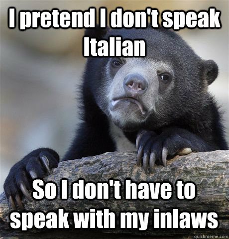 I pretend I don't speak Italian So I don't have to speak with my inlaws - I pretend I don't speak Italian So I don't have to speak with my inlaws  Confession Bear