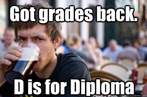 Got grades back. D is for Diploma - Got grades back. D is for Diploma  Lazy College Senior