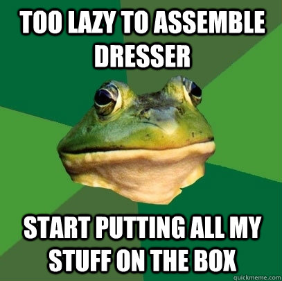 Too lazy to assemble dresser start putting all my stuff on the box - Too lazy to assemble dresser start putting all my stuff on the box  Foul Bachelor Frog