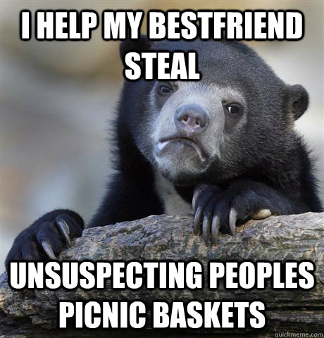 I Help my bestfriend Steal  unsuspecting peoples picnic baskets - I Help my bestfriend Steal  unsuspecting peoples picnic baskets  Confession Bear
