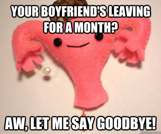 Your boyfriend's leaving for a month? Aw, let me say goodbye!