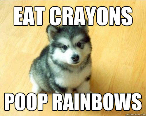 eat crayons poop rainbows - eat crayons poop rainbows  Baby Courage Wolf