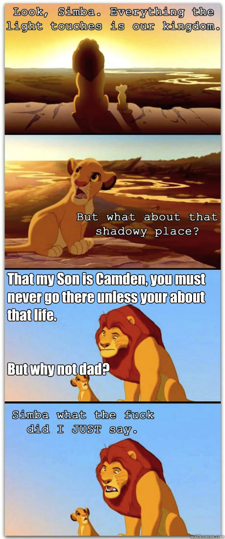 That my Son is Camden, you must never go there unless your about that life.   But why not dad?