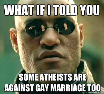 What if I told you Some atheists are against gay marriage too - What if I told you Some atheists are against gay marriage too  What if I told you