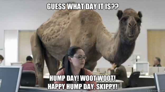 Guess what day it is?? hump day! woot woot! Happy Hump Day, Skippy!