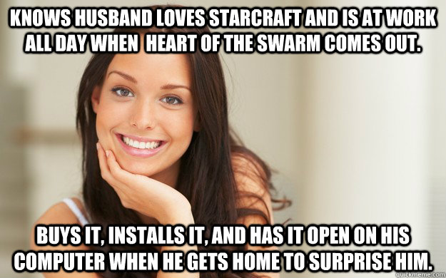 Knows Husband loves Starcraft and is at work all day when  Heart of the Swarm comes out.  Buys it, installs it, and has it open on his computer when he gets home to surprise him.