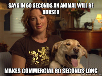 Says in 60 seconds an animal will be abused makes commercial 60 seconds long