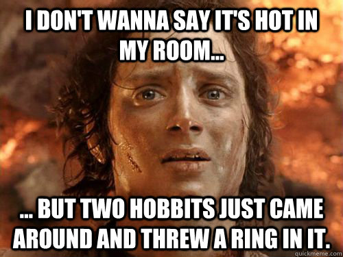 I don't wanna say it's hot in my room... ... but two hobbits just came around and threw a ring in it. - I don't wanna say it's hot in my room... ... but two hobbits just came around and threw a ring in it.  Frodo its finally over