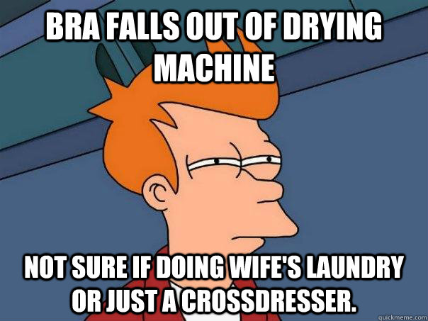 Bra falls out of drying mACHINE Not sure if doing wife's laundry or just a crossdresser. - Bra falls out of drying mACHINE Not sure if doing wife's laundry or just a crossdresser.  Futurama Fry