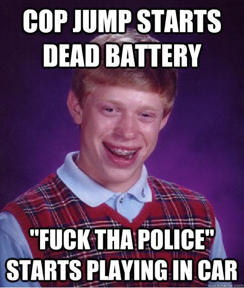 Cop jump starts dead battery