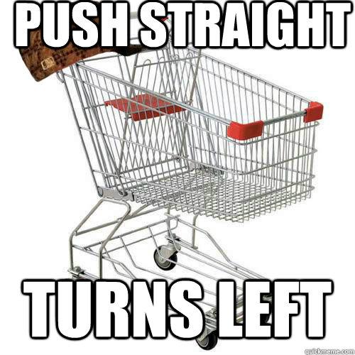 Push straight turns left