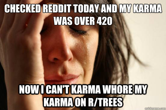 Checked reddit today and my karma was over 420 Now i can't karma whore my karma on r/trees - Checked reddit today and my karma was over 420 Now i can't karma whore my karma on r/trees  First World Problems