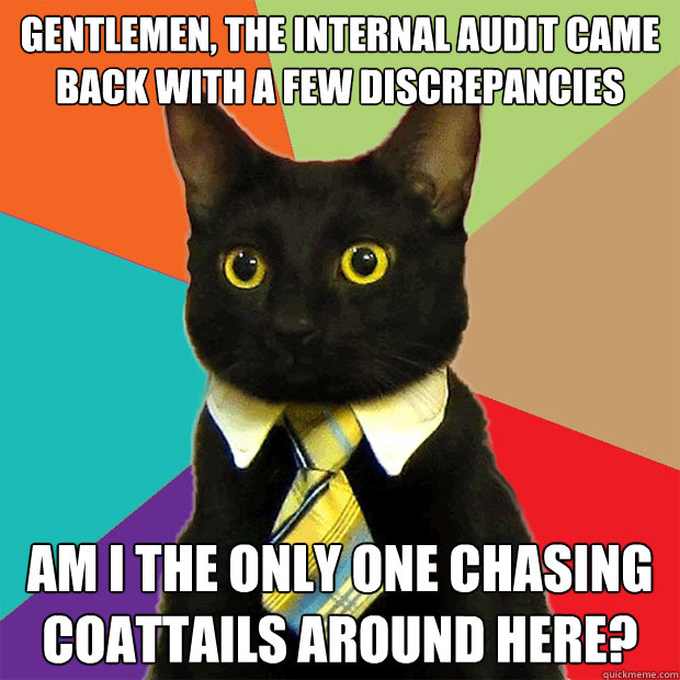 gentlemen, the internal audit came back with a few discrepancies  am i the only one chasing coattails around here? - gentlemen, the internal audit came back with a few discrepancies  am i the only one chasing coattails around here?  Business Cat