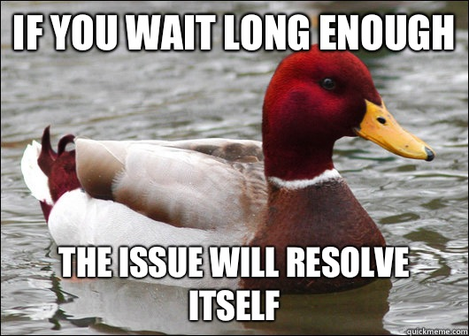 If you wait long enough the issue will resolve itself - If you wait long enough the issue will resolve itself  Malicious Advice Mallard