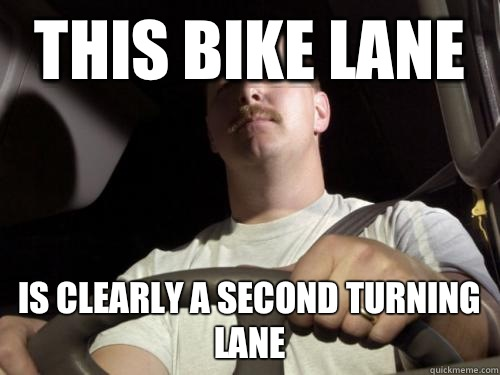 This bike lane Is clearly a second turning lane