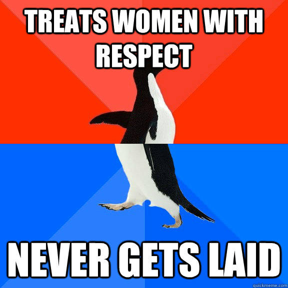 Treats women with respect  never gets laid - Treats women with respect  never gets laid  Socially Awesome Awkward Penguin