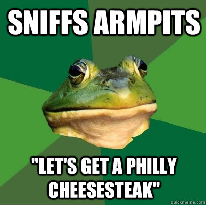 sniffs armpits