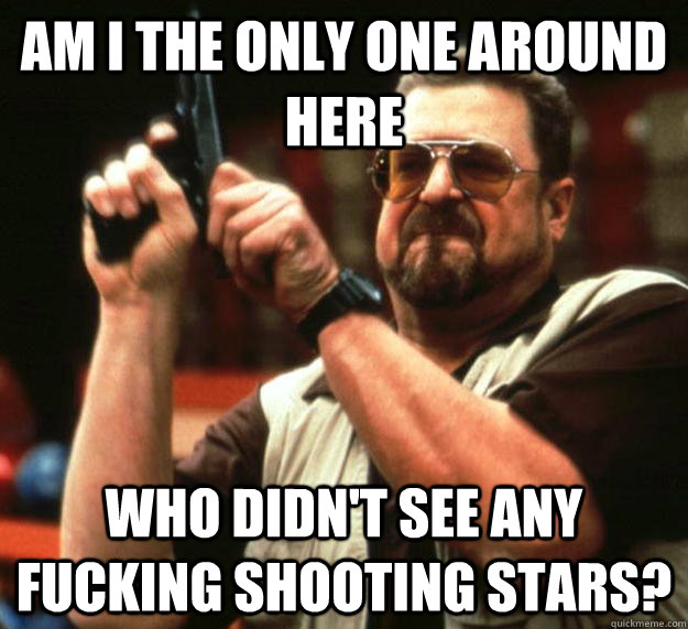 am I the only one around here who didn't see any fucking shooting stars? - am I the only one around here who didn't see any fucking shooting stars?  Angry Walter