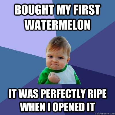 bought my first watermelon it was perfectly ripe when I opened it - bought my first watermelon it was perfectly ripe when I opened it  Success Kid