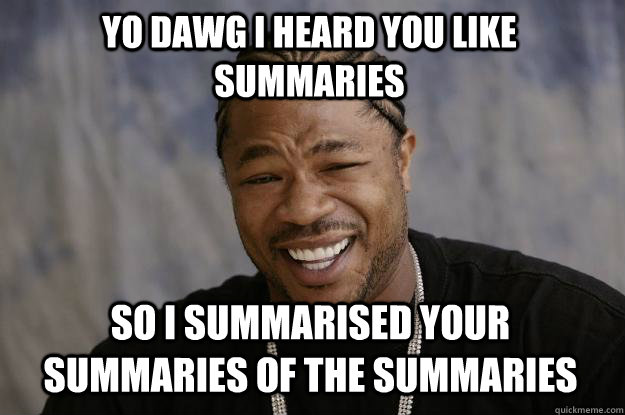 Yo DAWg i heard you like summaries so I summarised your summaries of the summaries - Yo DAWg i heard you like summaries so I summarised your summaries of the summaries  Xzibit meme