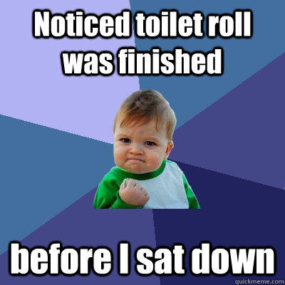 Noticed toilet roll was finished before I sat down - Noticed toilet roll was finished before I sat down  Success Kid
