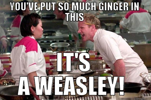 YOU'VE PUT SO MUCH GINGER IN THIS IT'S A WEASLEY!  Gordon Ramsay