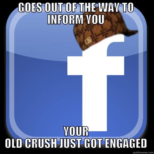 GOES OUT OF THE WAY TO INFORM YOU YOUR OLD CRUSH JUST GOT ENGAGED Scumbag Facebook