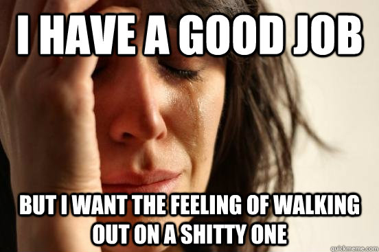 i have a good job but i want the feeling of walking out on a shitty one - i have a good job but i want the feeling of walking out on a shitty one  First World Problems
