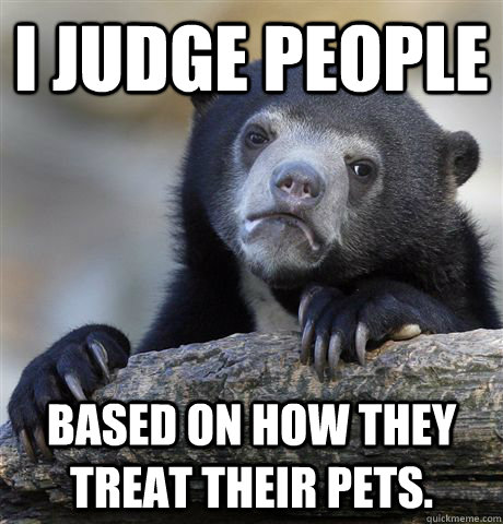 I judge people Based on how they treat their pets. - I judge people Based on how they treat their pets.  Confession Bear