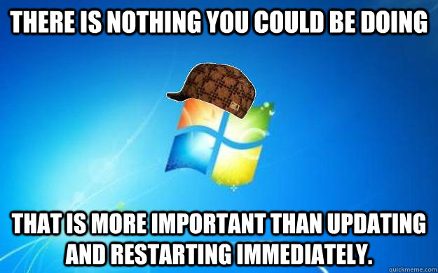 There is nothing you could be doing That is more important than updating and restarting immediately.