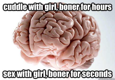 cuddle with girl, boner for hours sex with girl, boner for seconds - cuddle with girl, boner for hours sex with girl, boner for seconds  Scumbag Brain