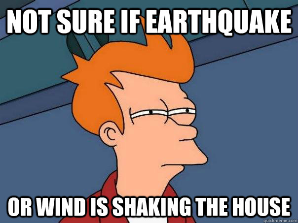 Not sure if earthquake Or wind is shaking the house - Not sure if earthquake Or wind is shaking the house  Futurama Fry