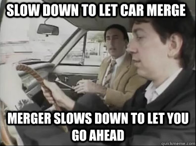 Slow down to let car merge merger slows down to let you go ahead - Slow down to let car merge merger slows down to let you go ahead  Seattle Driver