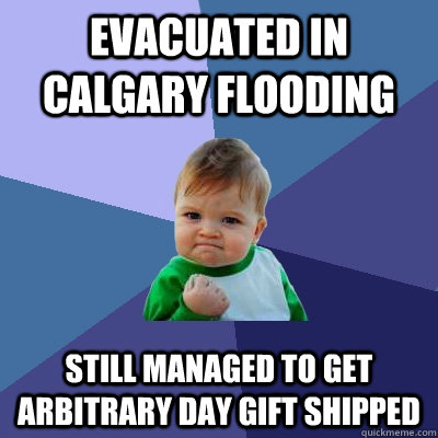 Evacuated in calgary flooding still managed to get arbitrary day gift shipped - Evacuated in calgary flooding still managed to get arbitrary day gift shipped  Success Kid
