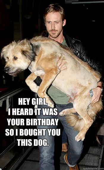 Hey Girl,  I heard it was your birthday so I bought you this dog.