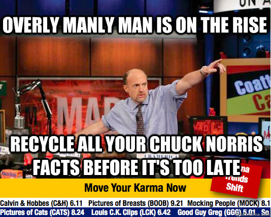 overly manly man is on the rise recycle all your chuck norris facts before it's too late  Mad Karma with Jim Cramer