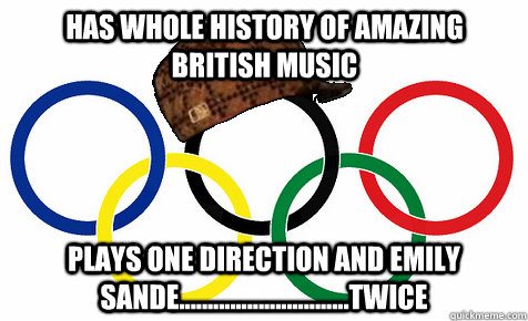 has whole history of amazing british music plays one direction and emily sande..............................twice
