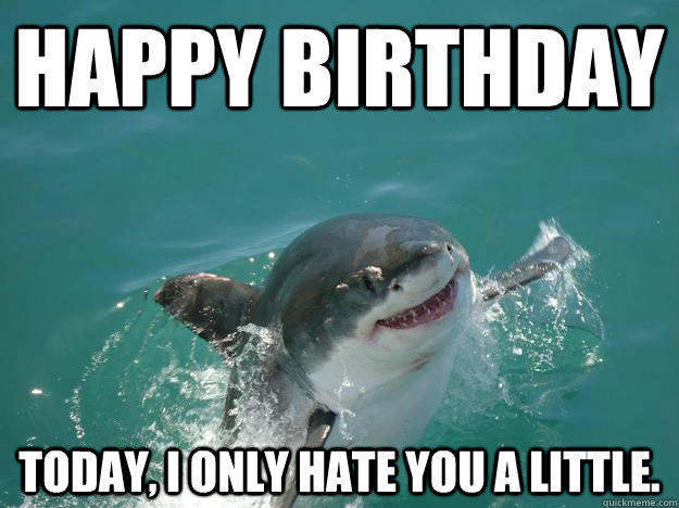 Happy birthday today, i only hate you a little. - Happy birthday today, i only hate you a little.  Misunderstood Shark