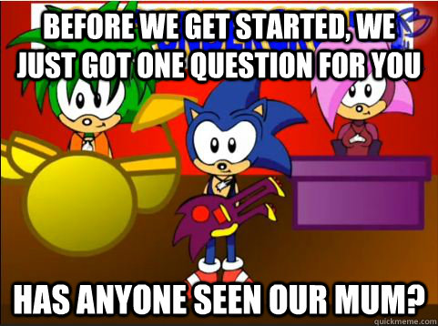 Before we get started, we just got one question for you Has anyone seen our mum? - Before we get started, we just got one question for you Has anyone seen our mum?  Question asking sonic