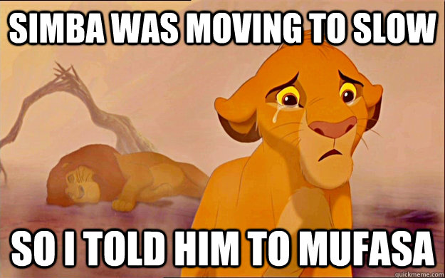 c96f1c30ee0ad50e37d97ef1b4541c35b6284cc8d518c39ae443d799a2381204 simba was moving to slow so i told him to mufasa misc quickmeme