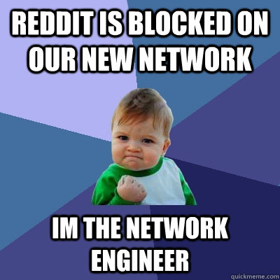 reddit is blocked on our new network im the network engineer - reddit is blocked on our new network im the network engineer  Success Kid