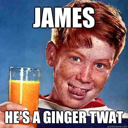 James He's a ginger twat  Perverse Ginger
