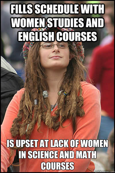 Fills schedule with women studies and english courses Is upset at lack of women in science and math courses
