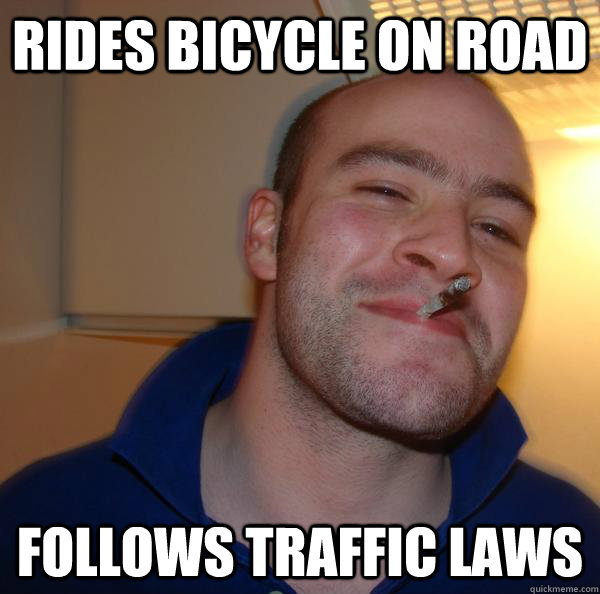 Rides bicycle on road Follows traffic laws - Rides bicycle on road Follows traffic laws  Misc