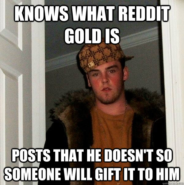 Knows what Reddit gold is Posts that he doesn't so someone will gift it to him - Knows what Reddit gold is Posts that he doesn't so someone will gift it to him  Scumbag Steve