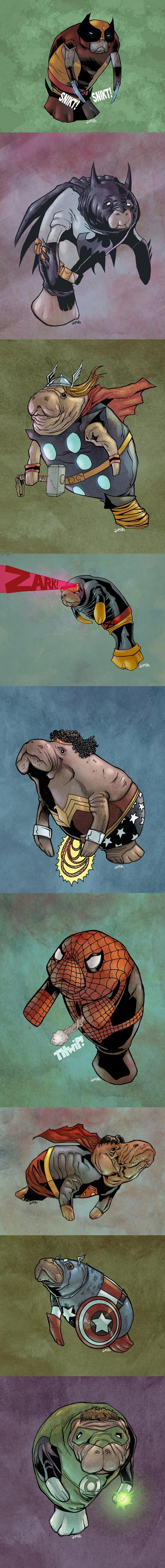 DC And Marvel Superheroes As Manatees -   Misc