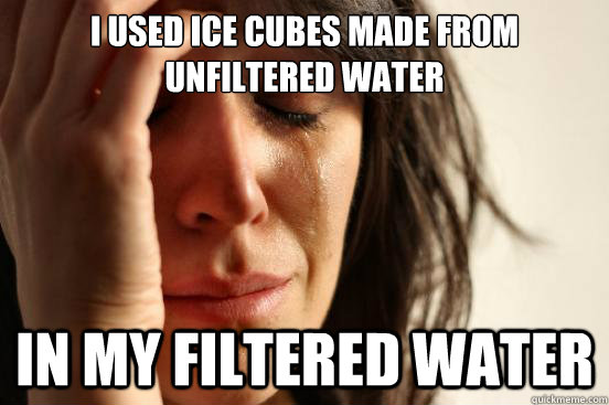 i used ice cubes made from unfiltered water in my filtered water - i used ice cubes made from unfiltered water in my filtered water  First World Problems