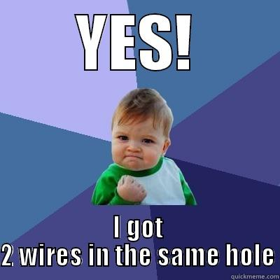 YES! I GOT 2 WIRES IN THE SAME HOLE Success Kid